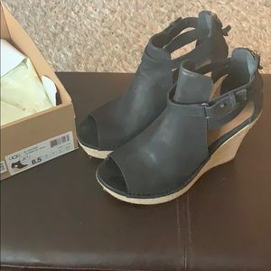 UGG Jolina Black Nubuck wedge sandals, size 8.5